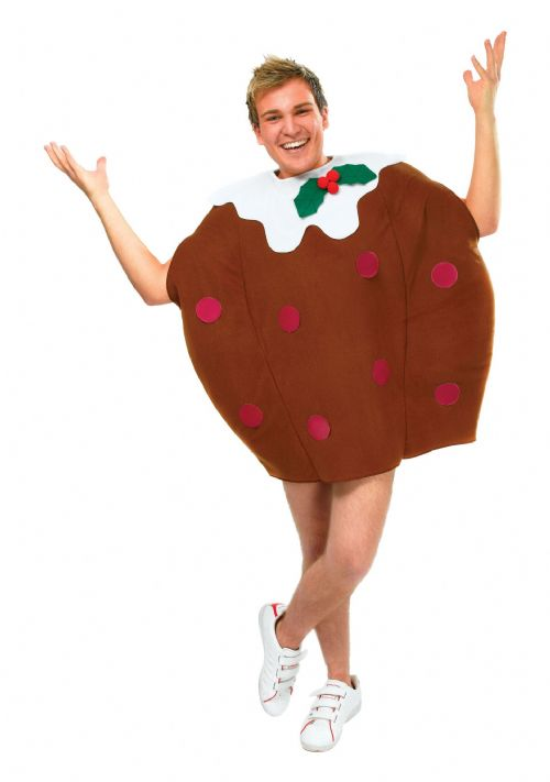 Adults Christmas Pudding Costume Festive Xmas Nativity Fancy Dress Outfit